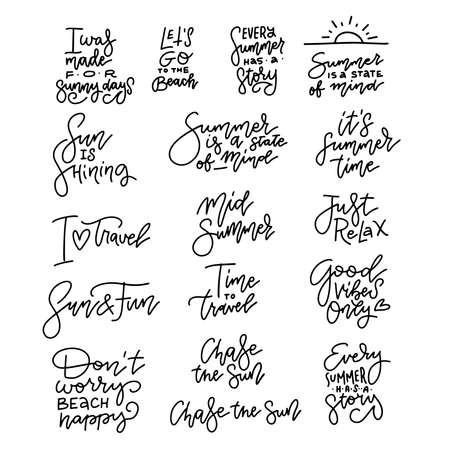 Travel lifestyle motivational phrases set. Hand drawn summer linear vector lettering. Print, poster, t-shirt and other apparel, greeting card template collection. Surf,travel,beach, sea, vacation Illustration