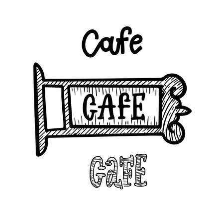 Ancient street signboard cafe and coffee house, vector line engraving illustration.