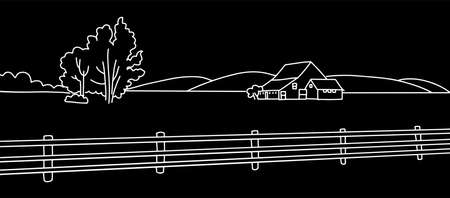Rural landscape with field, Old house, trees, field panorama. chalk drawing on the blackboard vector linear illustration Countryside background