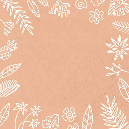 Vector Frame with Exotic Palm Leaves and flowers. Hand Drawn Recipe or Menu, social media Background. White linear illustration in doodle Style on sand textured background.