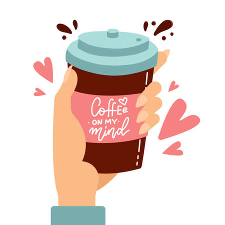 Customer hand holding paper coffee cup with love hearts and hand drawn lettering. Flat cartoon isolated background editable vector illustration for coffee shop advertising and lifestyle prints.