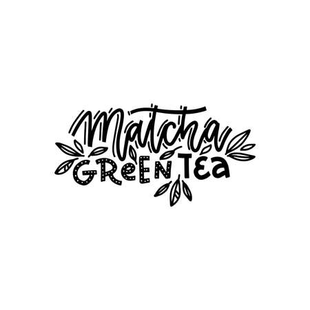Matcha green tea. Linear calligraphy hand drawn vector lettering text with leaves decor.