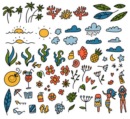 Summer set of design elements tropical leaves, flowers, fruits, palms, san with clouds. Vector color doodle hand drawn illustration