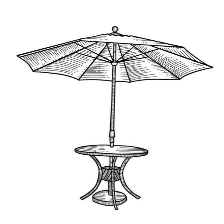 For an outdoor coffee table with an umbrella. Open parasol tent with round table. Hhand drawn sketch Vector illustration. Black and white isolated element of street cafe furniture.