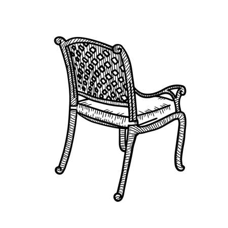 Wicker garden chair sketch. Outdoor street cafe furniture. Vector hand drawn illustration isolated on white background. Side rear view.