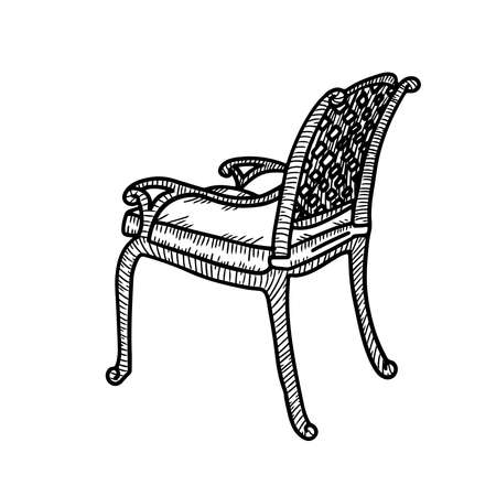 Line art wicker armchair. Wicker garden chair sketch. Outdoor street cafe furniture. Vector hand drawn illustration isolated on white background. Side view. Illustration