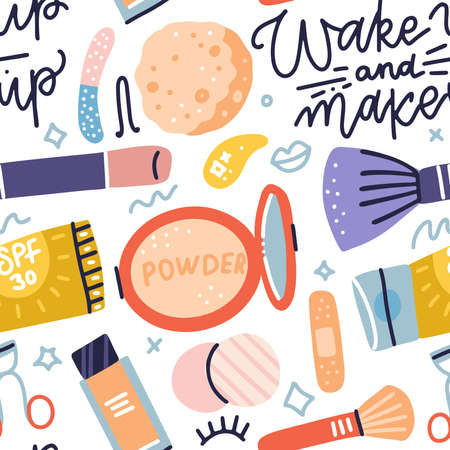 Seamless pattern with makeup tools, brushes, cream, powder and lettering - Wake up and makeup. Colorful cosmetics background. Vector Flat hand drawn icons illustration