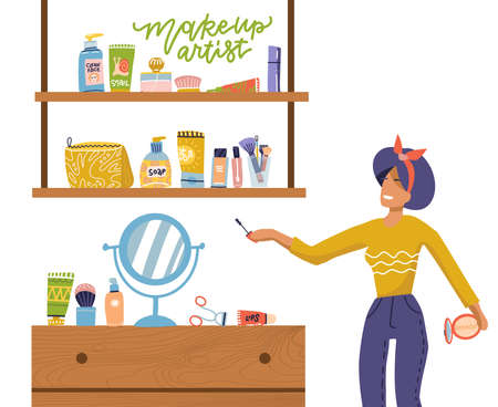 Concept of girl and makeup set, woman stands near shelves with cosmetics for face care at home. Vector illustration, flat cartoon style on white isolated background. Lettering quote makeup artist