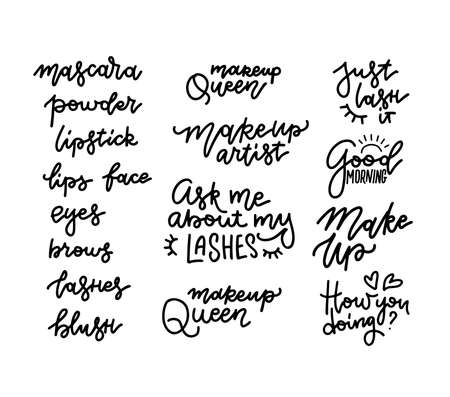 Lashes, mascara, makeup, powder, lipstick - lettering set with quotes or phrases. Typography illustrations for decorative cards, beauty salon, makeup artists, stickers. Fashion sayings in linear style