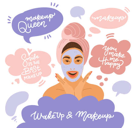 A young girl wrapped in a towel, with a towel on her head, with a cosmetic mask on her face. Makeup queen. Smile is the best makeup. You make me happy. Vector flat illustration.