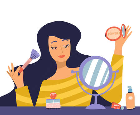 Beautiful young woman character doing make up. Table with makeup, cosmetics and wound mirror. Girl holding brush and powder. Vector flat cartoon illustration in trendy style