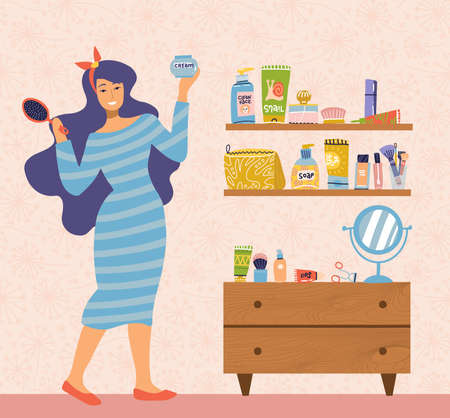 Illustration of woman in dress caring for herself standing at table with mirror in room. Everyday personal care, hygienic procedure. Many makeup items on shelves. Flat cartoon vector illustration.  イラスト・ベクター素材