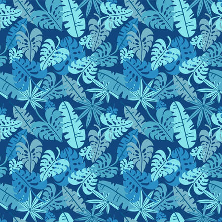 Tropical seamless pattern, palm leaves floral background. Exotic plant leaf print illustration. Summer blue jungle print. Leaves of palm tree on paint lines. Flat hand drawn vector design.  イラスト・ベクター素材