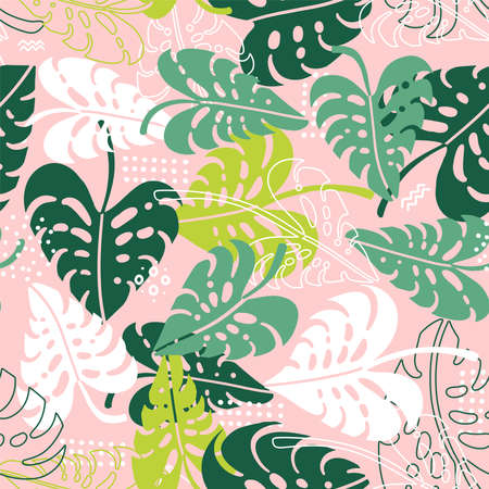 Seamless tropical pattern. Leaves palm tree illustration. Bright vector background  イラスト・ベクター素材
