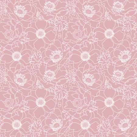 Vector powdery pink lace flowers poppy elegant seamless pattern background with hand drawn white line art floral elements