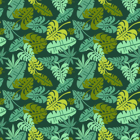 Abstract jungle print with silhouettes of paradise island foliage. Vector flat seamless floral green pattern inspired by tropical nature and plants with shape of palm leaves. Summer background.
