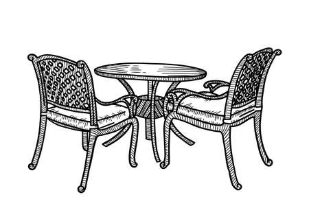 Street outdoor furniture in the summer cafe. Smal round table with two wicker armchairs. Vector sketch hand drawn illustration  イラスト・ベクター素材