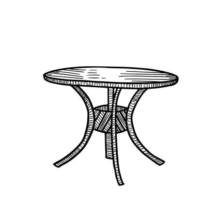 Vector monochrome line hand drawing sketche. Round table on four foot isolated on white background. Used in cafes and restaurants. Handdrwn illustration  イラスト・ベクター素材