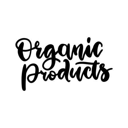 Organic Products food nature hand written brush lettering, black logo, label badge for groceries, stores, packaging and advertising..Vector illustration. White background.  イラスト・ベクター素材