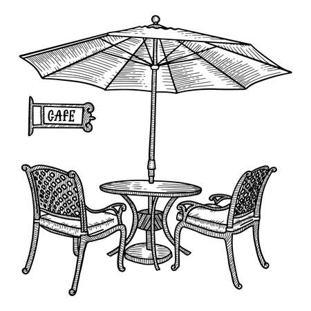 Hand drawn street cafe - table, two chairs and ambrella or parasol . Hand drawn sketch for Menu design, sketch restaurant city, exterior architecture, Black and white vintage vector illustration  イラスト・ベクター素材