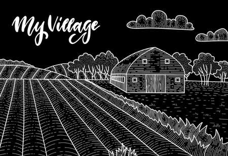 Rural landscape with field, Old barn house, trees, field panorama. Chalk drawing on the blackboard vector linear sketch illustration. Countryside background with lettering My village.  イラスト・ベクター素材