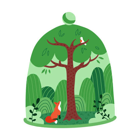 Green tree forest with fox under a transparent glass dome. Save the forest and nature concept. Bad influence on the environment. Flat vector cartoon illustration