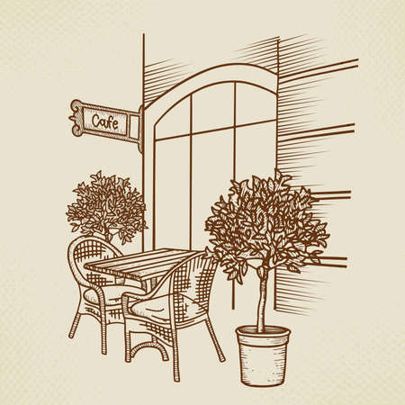 Street cafe in old town graphic illustration. Hand drawn outdoor cafe - table, two chairs and plant. Sketch for Menu design, sketch restaurant, exterior architecture, Paper vintage vector illustration Ilustração