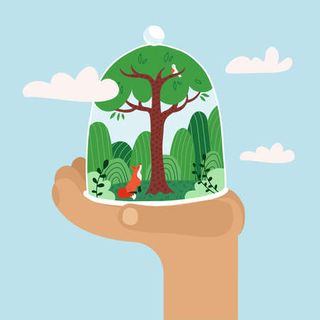 Hand holding glass done with forest. Concept of climat change, ecological and deforestration, Earth Day, Enviroment day, Earth hour. Protect the forest. Green trees with fox. Flat vector illustration.