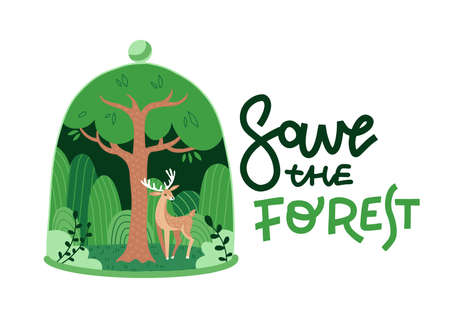 Eco green nature forest background template. Deciduous forest with a deer in glass dome shape. Plant inside bell jar. Save the forest lettering ecology creative idea concept. Vector flat illustration.
