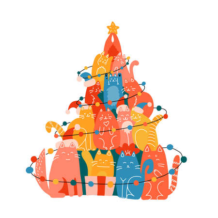 Christmas tree made of many funny cats. New year greeting card illustration. Flat and line hand drawn vector illustration.
