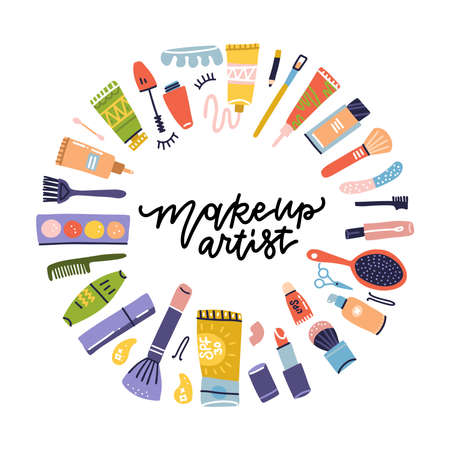 Beauty shop cosmetic label doodle frame for makeup artist. Lipstick and shampoo, powder and mascara, lotion bottle and cream icons. Cosmetics items. Vector Flat hand drawn icons illustration Ilustração