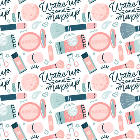 Seamless pattern with flat style colorful makeup icons. Hand drawn vector illustrations of different cosmetics items on white background with hand drawn lettering Ilustração