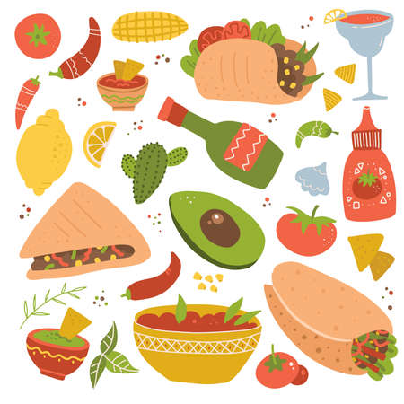 Set of Mexican food traditional menu icon, delicious recipes to cook, authentic cuisine, festival meal. flat hand drawn cartoon illustration isolated on white background. Ilustração