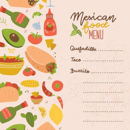 Food truck Mexican food menu. Set of colorful hand drawn Mexican food elements - burrito, taco, margarita, lemon, cactus, tomato. Hand drawn food for restaurant menu, banner, flyer, print design.