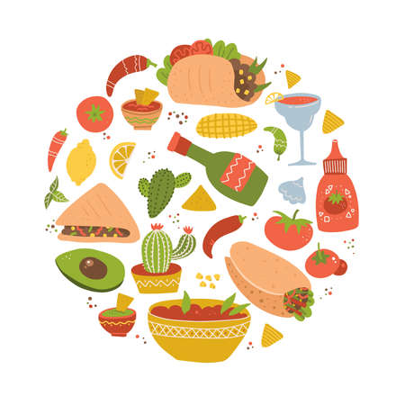 Colorful hand drawn set of Mexican food cartoon tasty objects, symbols and items - taco, burrito, margarita, cactus. Round shape composition.