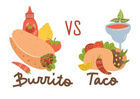 Mexican food set. Burrito vs taco. Colored collection with burrito, taco, chili, margarita cocktail and sauce. Ilustração