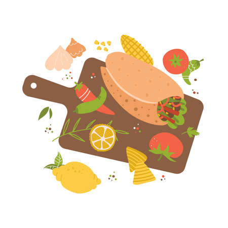 illustration of cutting board, burrito, garlic, lime, chili pepper and tomato. Cooking of Mexican food. Hand drawn flat food concept for restaurant menu, banner, flyer, print design. Ilustração