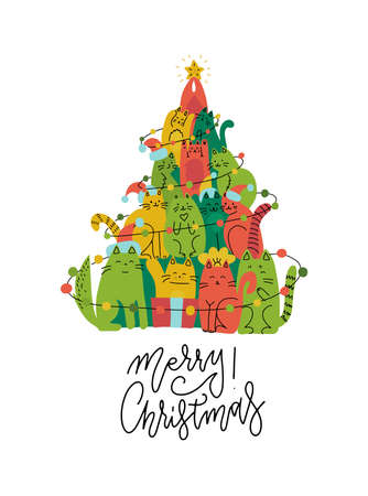 Cute green and red cats Christmas tree silhouette. Funny greeting card for pet lovers. flat hand drawn illustration doodle. Stack of cats acting xmas tree. Line lettering - Merry Christmas