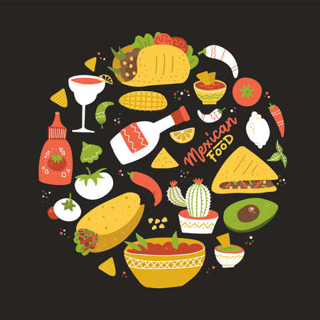 Round shape composition with Taste of Mexico. Set of different Mexican food in circle. flat hand drawn illustration. Black backdrop. Taste of Mexico. Ilustração