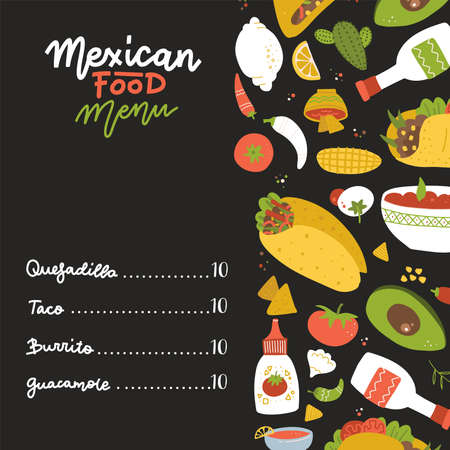Mexican food menu on black backdrop decorated with Set of freehand elements - burrito, taco, lemon, cactus, tomato, salsa sauce, garlic. Hand drawn food for restaurant menu, banner, print design.