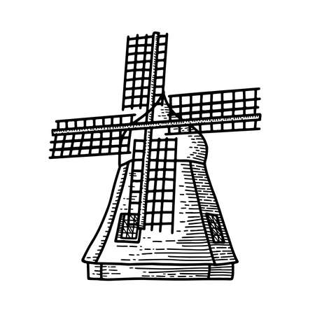 Mill sketch. Hand drawn vintage windmill. Engraved style illustration isolated on white background.