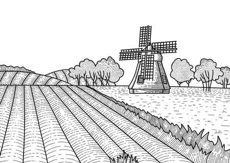Dashed outline of the summer landscape with windmill. Rural dutch landscape with mill and field. Bakery shop, organic agricultural production, eco food.