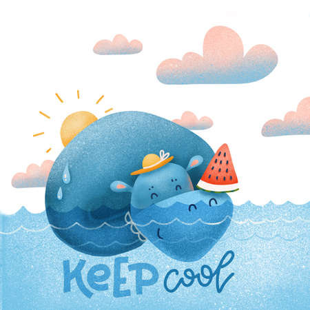 Cute hippopotamus seeming in blue water and holding a sliced watermelon. Flat textured cartoon illustration for summer holidays concept with hand drawn lettering Keep cool.