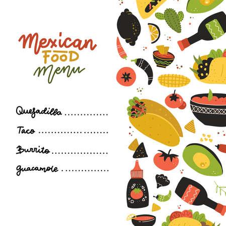 Mexican food menu design template. Square banner set. Mexican food cafe. Vector flat hand drawn illustration. Ilustração
