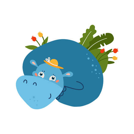 Blue funny hippo animal with summer palm tropical leaves. Childish concept for your paper textile design. Flat hand drawn illustration.