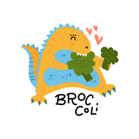 Cute dinosaur in love with broccoli. healthy food print for textile, cards, package. Dino character with lettering. Flat hand drawn illustration. Ilustração