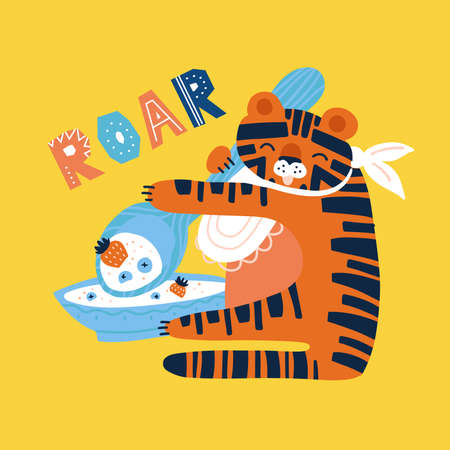 Fun tiger with spoon and plate eating porridge with berries. Flat hand drawn illustration. Roar doodle lettering quote Ilustração