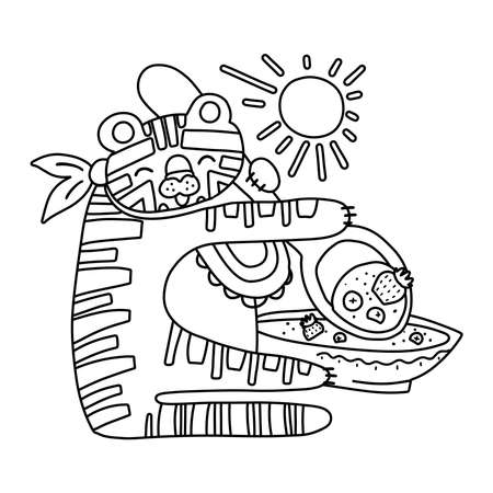 cute tiger with porridge outline. Funny tropical exotic animal having breakfast black and white illustration. Fun coloring page for children. Jungle summer clip art