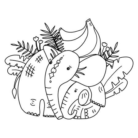 Coloring page for kids with cute mother elephant with baby and banana tree. Funny tropical exotic animal food black and white illustration. Jungle summer clip art