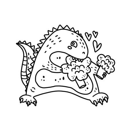 Coloring page outline of cartoon cute dinosaur t-rex with broccoli. Hand drawn illustration, coloring book for kids. Funny tropical animal black and white illustration. Jungle summer clip art